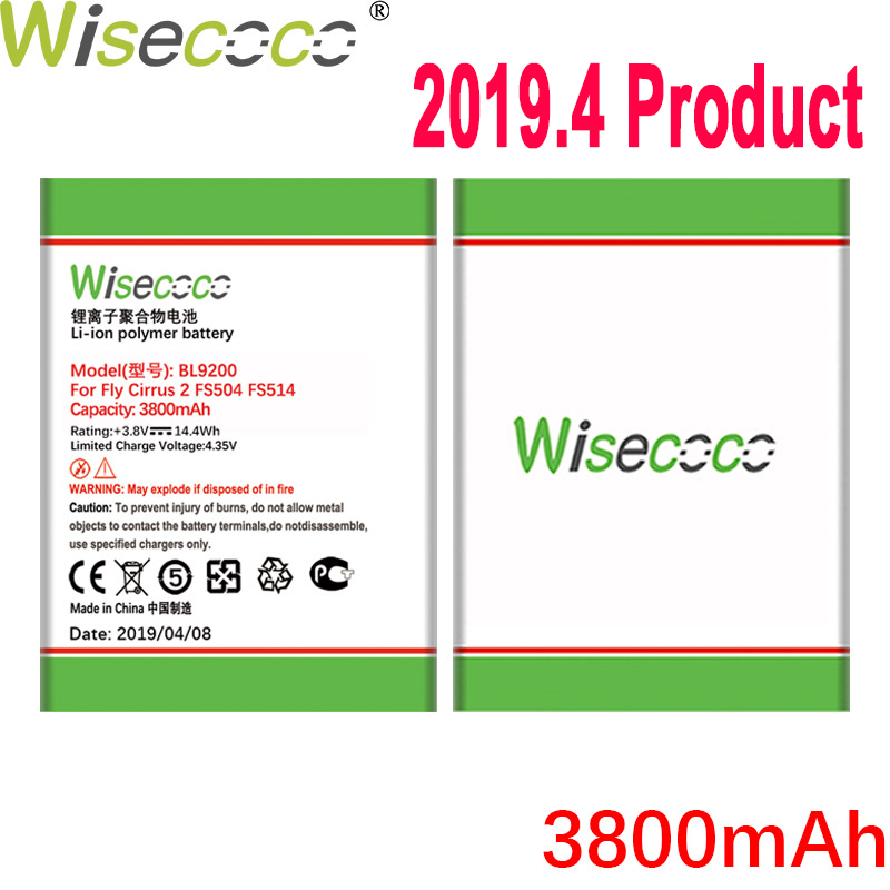 WISECOCO 3800mAh BL9200 Battery For <font><b>FLY</b></font> FS504 <font><b>FS</b></font> <font><b>504</b></font> cirrus 2 cirrus2 FS514 Phone In Stock High Quality Battery+Tracking Number image