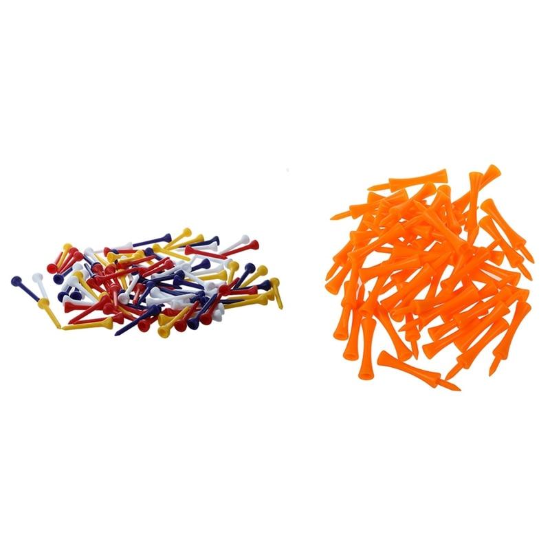 100Pcs 49mm Color Mixed Plastic Golf Tees & 50Pcs 70mm Big Castle Golf Tees (Orange)
