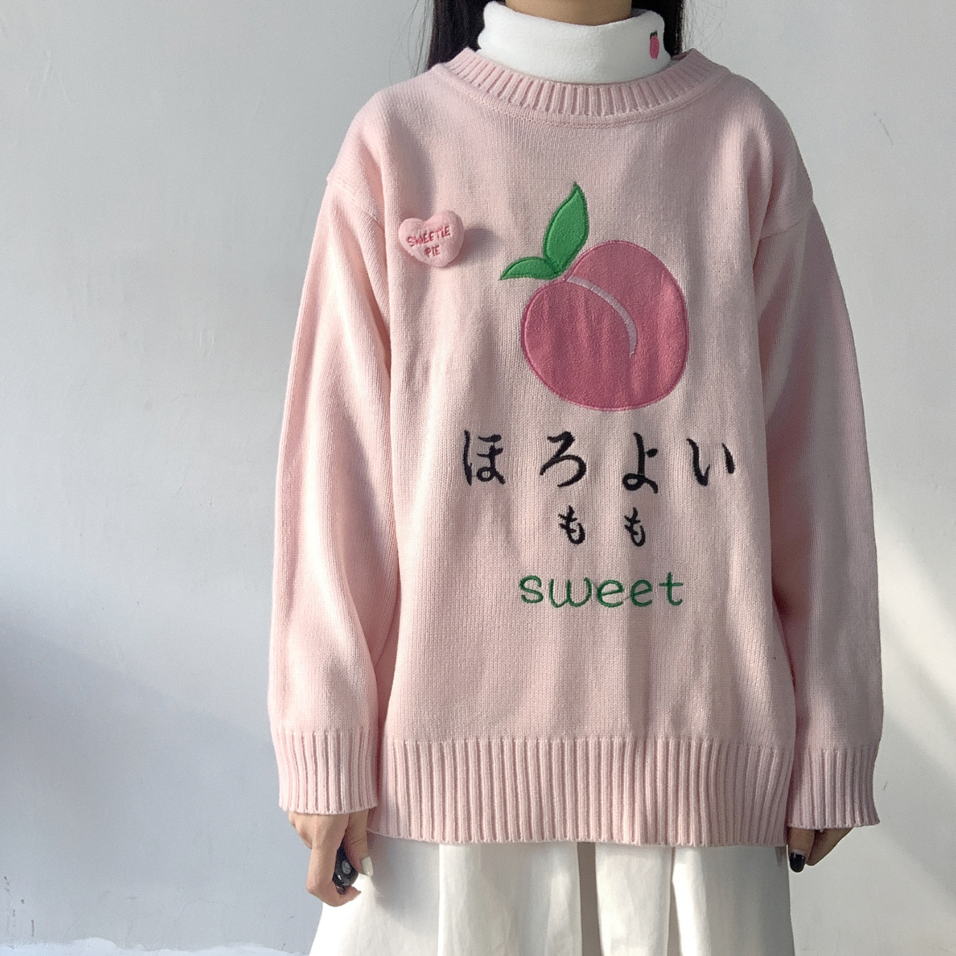Kawaii Embroidery Pink Knitted Women Sweater Pullover Japanese Cute Loose Round Neck Teen Girl Jumper Winter Sweet Femme Pull