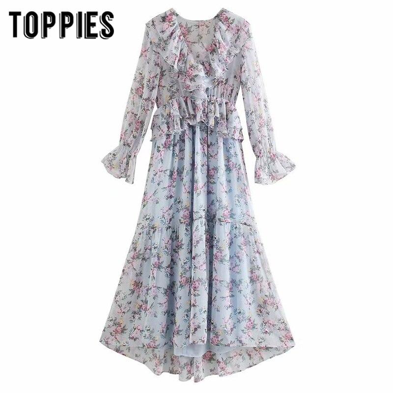 2020 Spring Summer Flroal Printing Midi Dress Lolita Girl Cute Ruffles Dress Women Sweet Vestidos