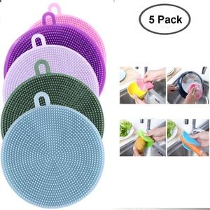 Image 1 - 5PCS/Set Magnic Eraser Silicone Dish Sponge Scrubber Pot Washing Brush Household Cleaning Sponges Brushes 5 Pack
