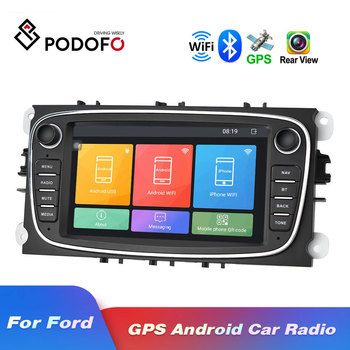 Podofo 2 Din Android 8.1 Car Radio GPS Autoradio 7'' Car Multimedia player MP5 Player For Ford/Focus/S-Max/Mondeo 9/GalaxyC-Max image