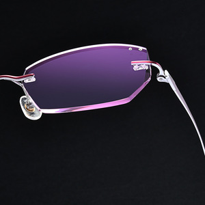 Diamond Trim Glasses Frame Myopia Women's Ultra-Light Pure Titanium Frameless Trim Gradient Color Glasses Factory 98012