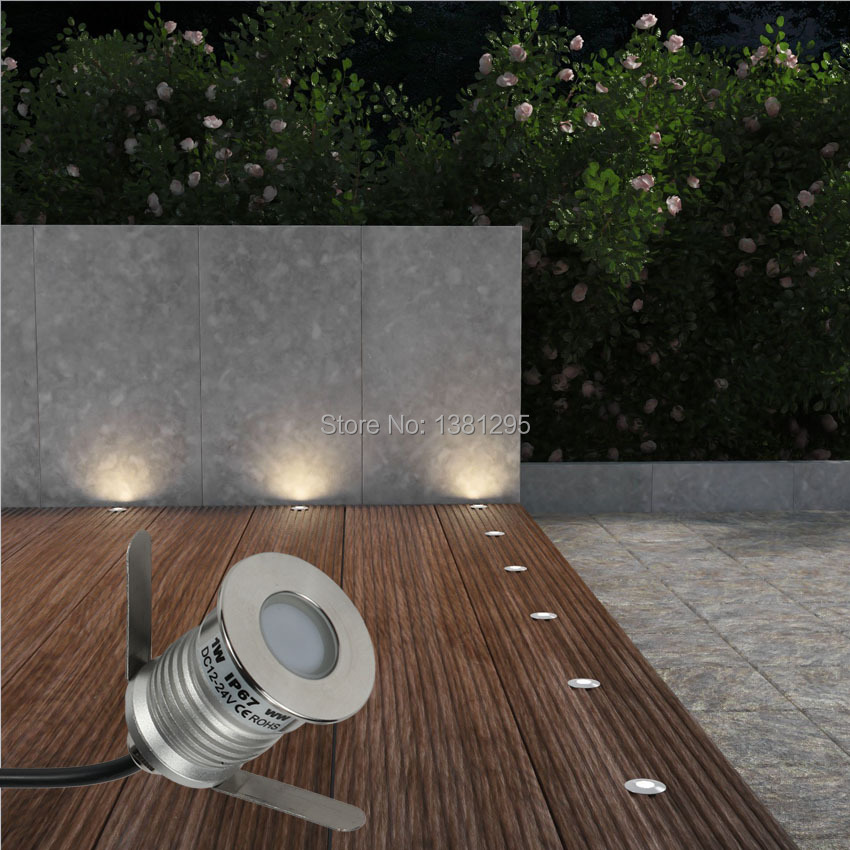 recessed led deck light ip67 12v 24v 1w outdoor ground patio underground lamp terrace floor stairs step spotlight dimmable