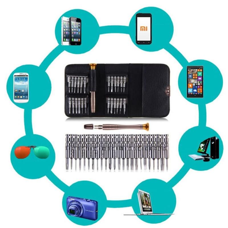 Купить с кэшбэком 25 in 1 Screwdriver Set Repair Hand Tool Kit For iPhone 5 5S 6 Cellphone Tablet PC Glasses Watch Portable Wallet Packing