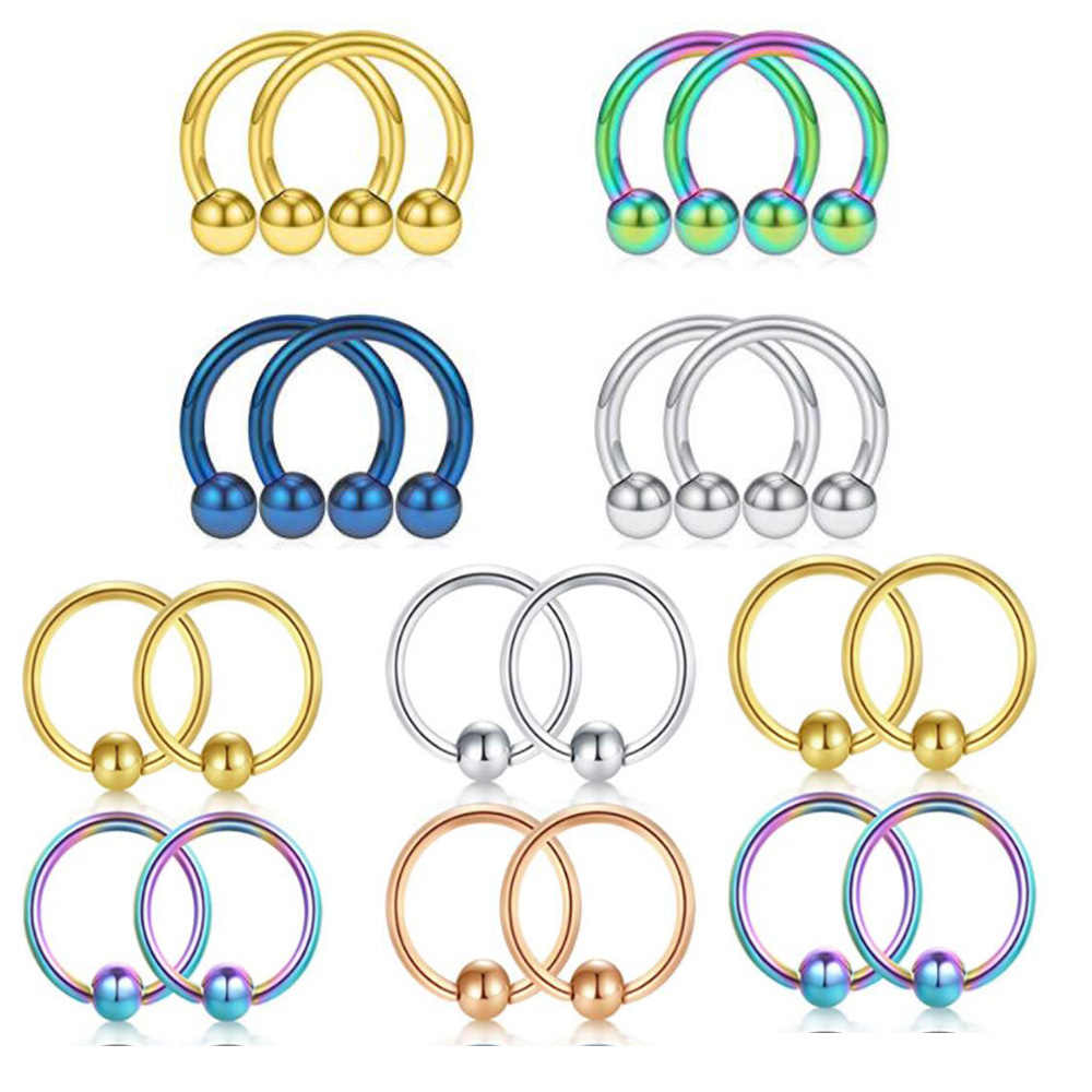 Ear Piercing Nose Hoop Rings 1pcs Anodized Nose Studs Cartilage Earring Helix Tragus Body Jewelry Sexy Women Accessories