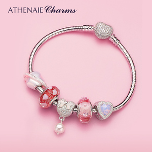 Image 4 - ATHENAIE 925 Sterling Silver Snake Chain With Pave Clear CZ Heart Clasp Bracelet Fit All European Charm Beads Valentine Jewelry