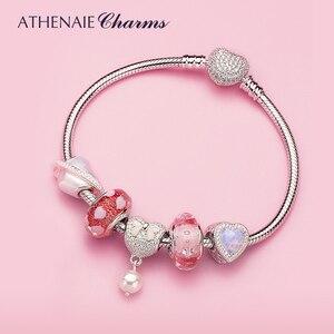 Image 4 - Athenaie 925 prata esterlina cobra corrente com pave claro cz coração fecho pulseira caber todos os grânulos charme europeu valenti jóias