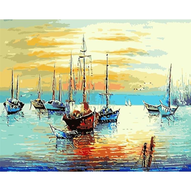 Dock bateaux de pêche peinture faite à la main toile de haute qualité belle peinture par numéros cadeau Surprise grande réalisation