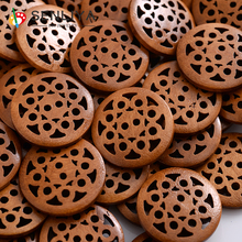 New 30-60Pcs/Pack 25mm Wood Large Round Hollow Sunflower Shape Wooden Buttons Suitable For Clothes Handmade Scrapbooking Craft
