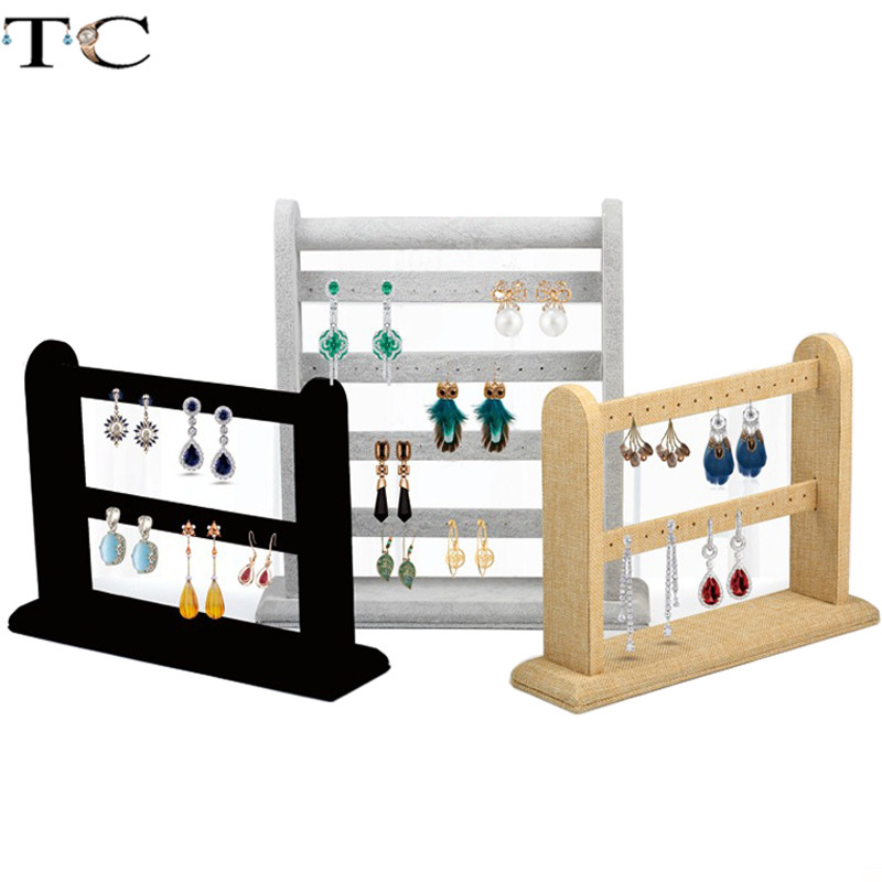Jewelry Display Stand Earring Holder Earrings Display Stand Velvet Earrings Rack Black Linen Earring Studs Organizer 1pc