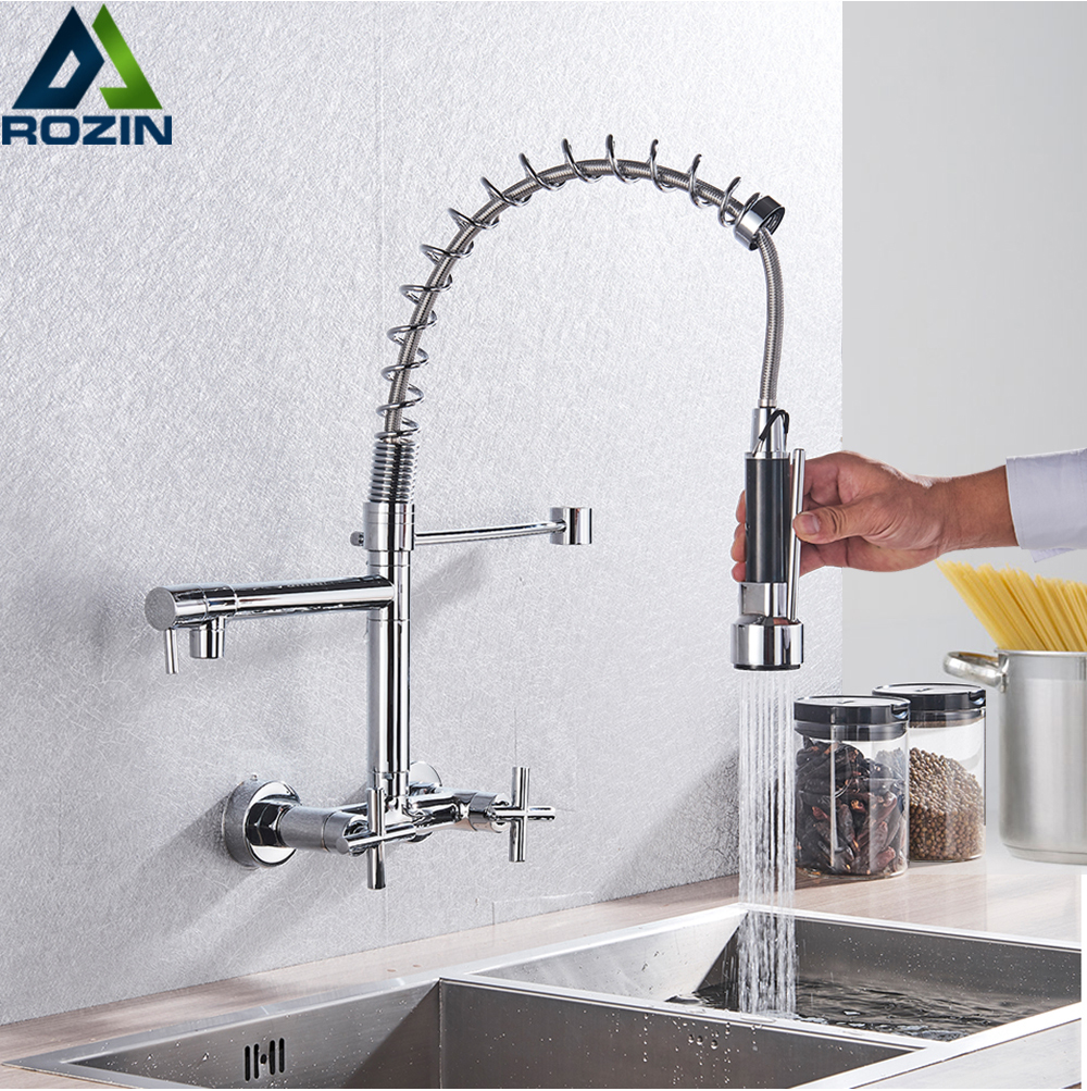 wall mount spring basin kitchen faucet pull down hot cold water kitchen sink mixer tap dual handle two swivel spout basin tap
