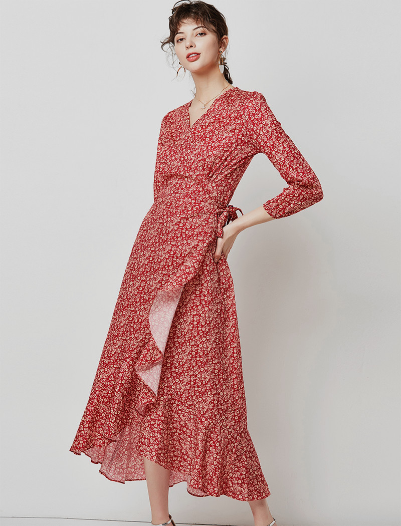 19 Autumn Casual V Neck Ruffled Long Dresses Women Elegant Lantern Sleeve Floral Print Maxi Dress Boho Split Wrap Tunic Dress 11