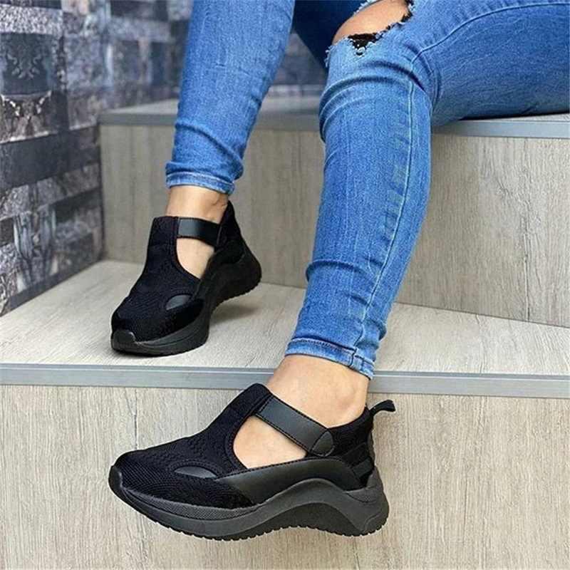 """Giày Nữ Mùa Hè Bơm Chun Giữa Gót Plus Kích Thước Lưới Thoáng Khí Giày Sneaker Giày Đế Xuồng Nữ Nữ Mujer """"Sapato Feminino"""