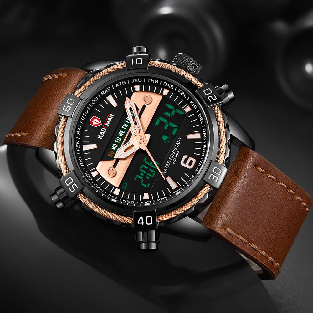 KADEMAN Luxury Relogio Masculino Mens Watch Multifunction Electronic Watch Sports Waterproof Leather Strap Watch Men reloj hombr