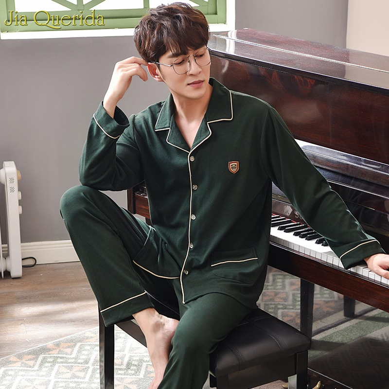 Chinese Pajamas High Quality Brand Sleepwear Men Long Sleeves 2pcs Long Sleeves Pants Pajamas Set Dark Green 100% Cotton Pajamas