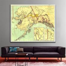 60х60см золотых и угольных месторождений на Аляске в 1898 году издания изысканные холст картины брызга настенная карта для комнаты Livinig декор
