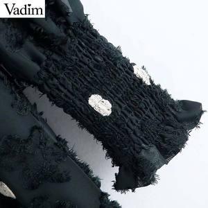 Image 5 - Vadim women elegant office wear midi dress long sleeve polka dots female casual elastic waist chic dresses vestidos QC931