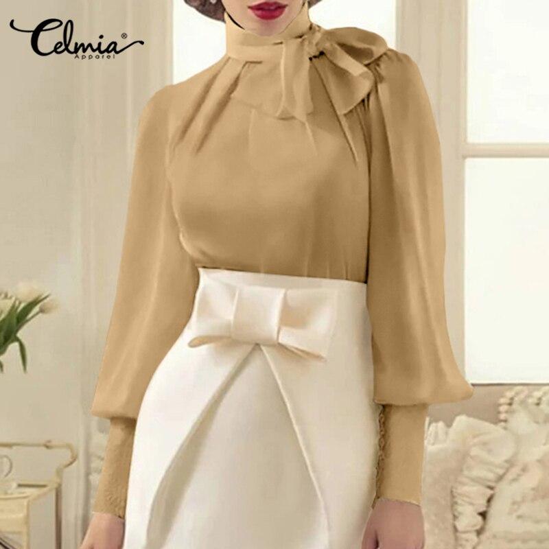 Модная женская блузка Celmia, рубашки с длинным рукавом-фонариком, осень 2021, женский элегантный офисный топ с бантом, женские блузы