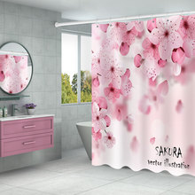 YIMING Flower print bathroom shower curtain waterproof shower curtain polyester removable shower curtain home decoration halloween cat print waterproof shower curtain