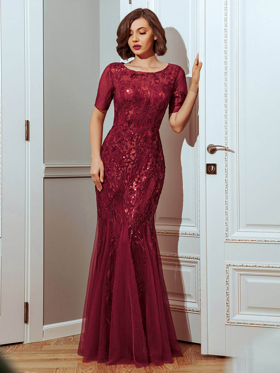 Prom-Dresses Ever Pretty Little Plus-Size Short-Sleeve Party-Gowns Elegant Formal O-Neck