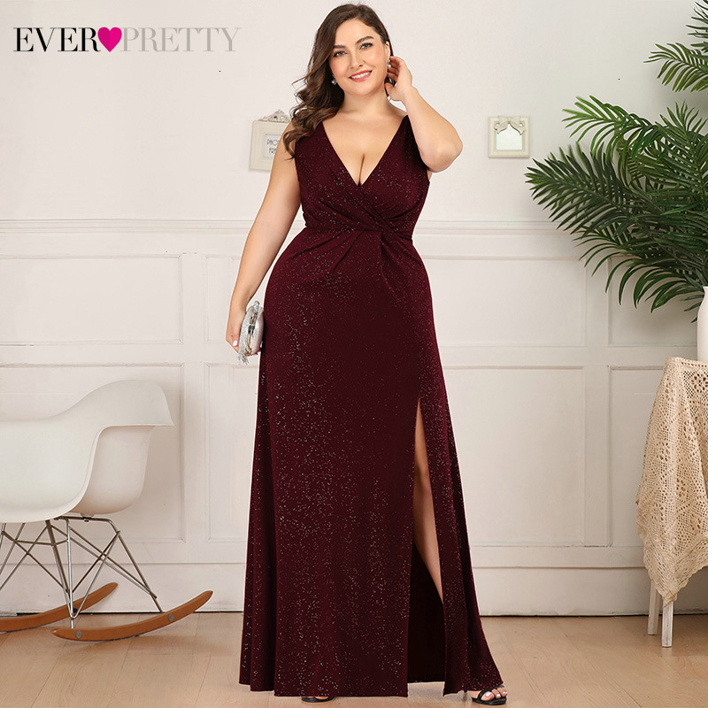 Plus Size Sparkle Evening Dresses Ever Pretty A-Line Double V-Neck Sleeveless Side Split Sexy Formal Party Gowns Robe De Soiree