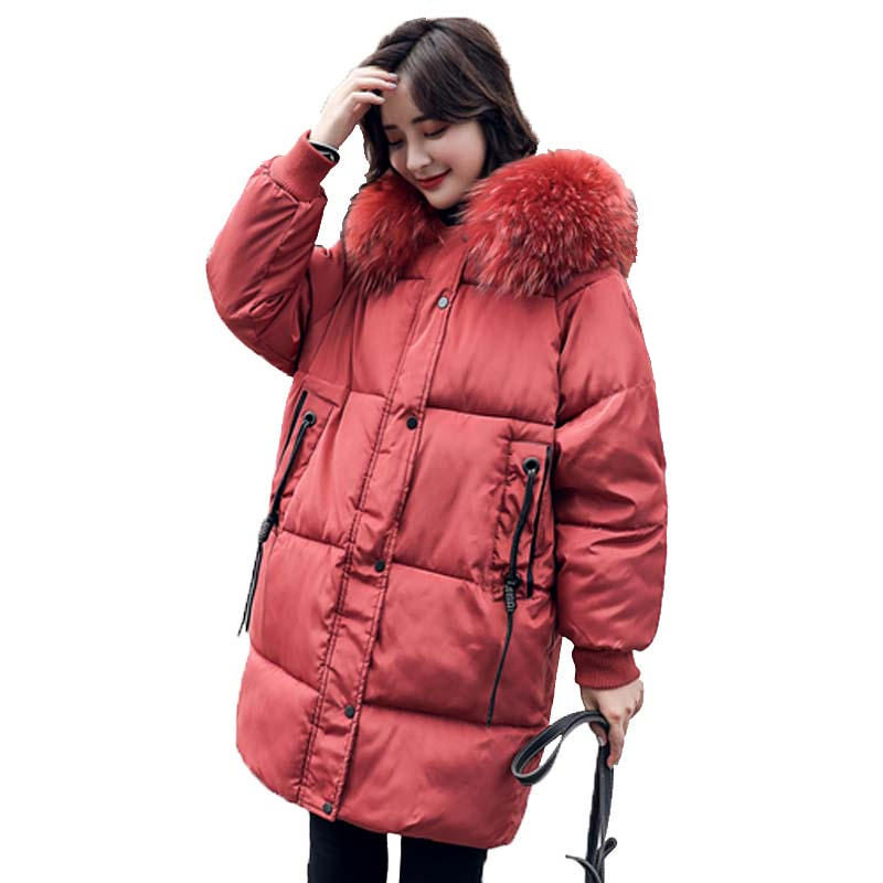 Oversize Down Cotton Jacket Female Parka Winter Coat Women Loose Warm Thicken Hooded Women Winter Jacket Padded Outerwear Q1912 image