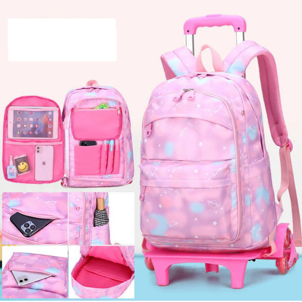 School Rolling Backpack Bag For Girls School Wheeled Backpack Bag Student Book Bag with Wheels Kids Rolling Travel Trolley Bags School Bags  - AliExpress