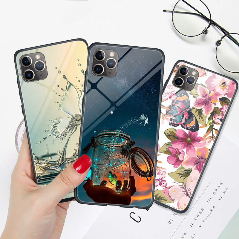 For iPhone 7 8 Plus Case Butterfly Glossy For iPhone 11 Pro MAX XS XR X S MAX Case Hard PC TPU For iPhone5 5S SE 6 6S Black Capa image