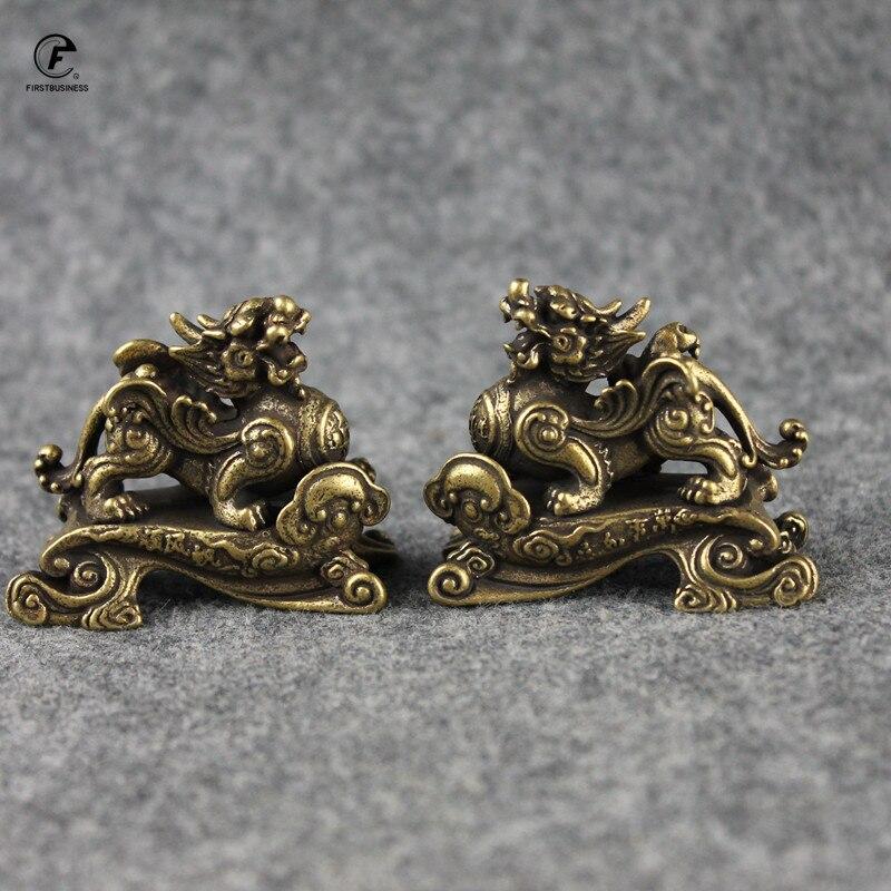 Cuivre Dragon décoration de la maison chinois 12 zodiaque Animal Dragon mascotte Miniatures Figurine en laiton bureau Feng Shui décor artisanat