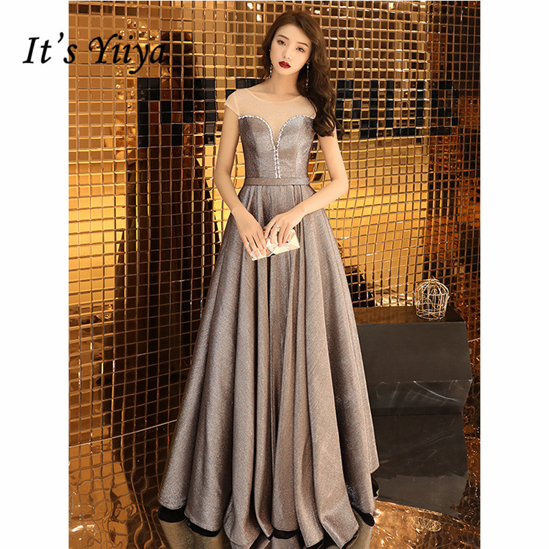 It's Yiiya Evening Dress 2019 Short Sleeve O-Neck Sequins A-Line Formal Gowns Plus Size Elegant Long Party Robe De Soiree E1075
