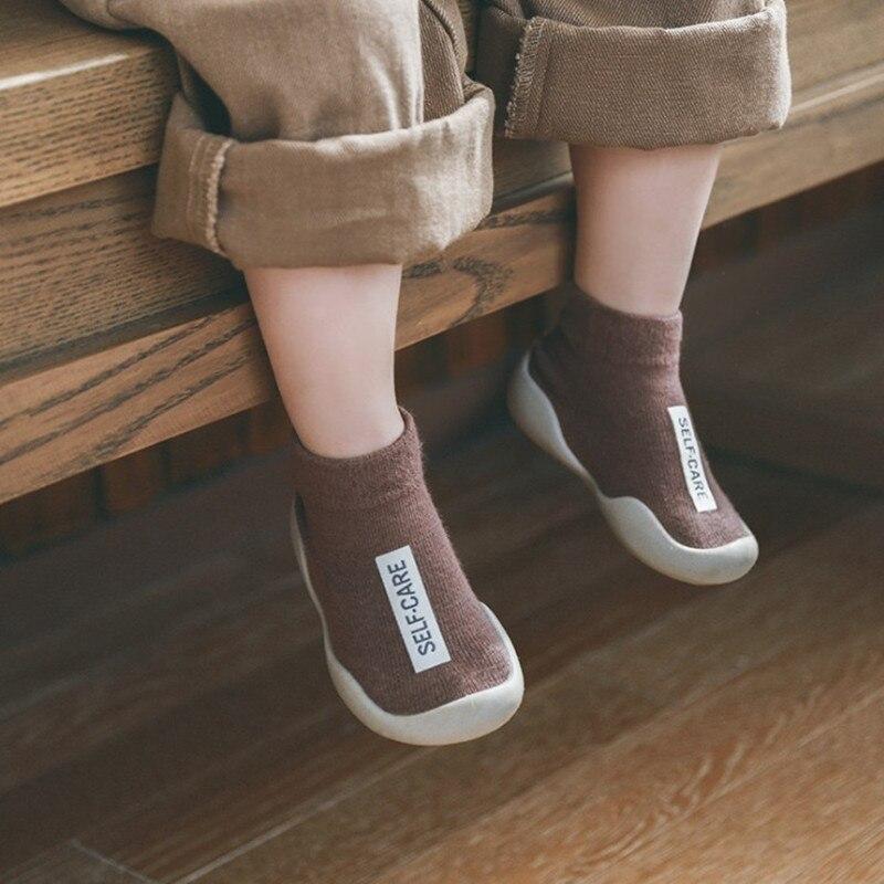 Koovan Children's Shoes Non-slip Floor Socks 2019 New Baby Toddler Shoes Socks Firstwalker Rubber Sole Baby Socks Shoes Cotton
