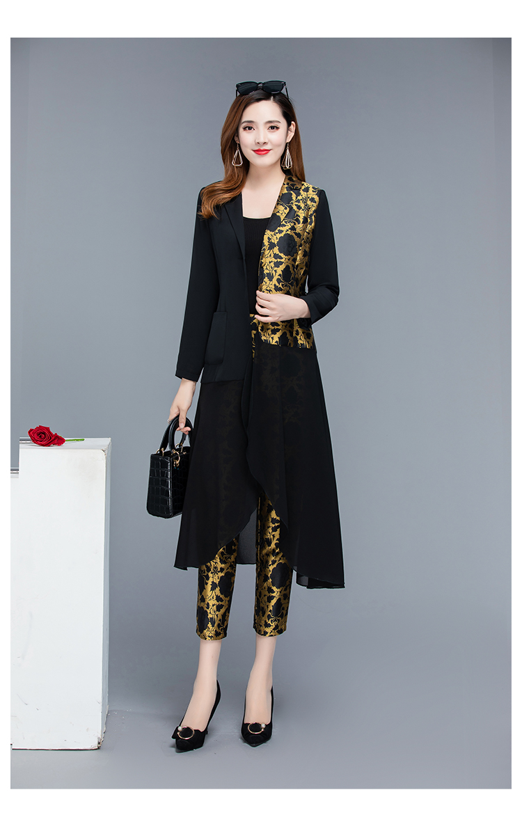 2019 Autumn Black Vintage Printed Two Piece Sets Outfits Women Plus Size Long Tops With Belt And Pants Suits Elegant Office Sets 47