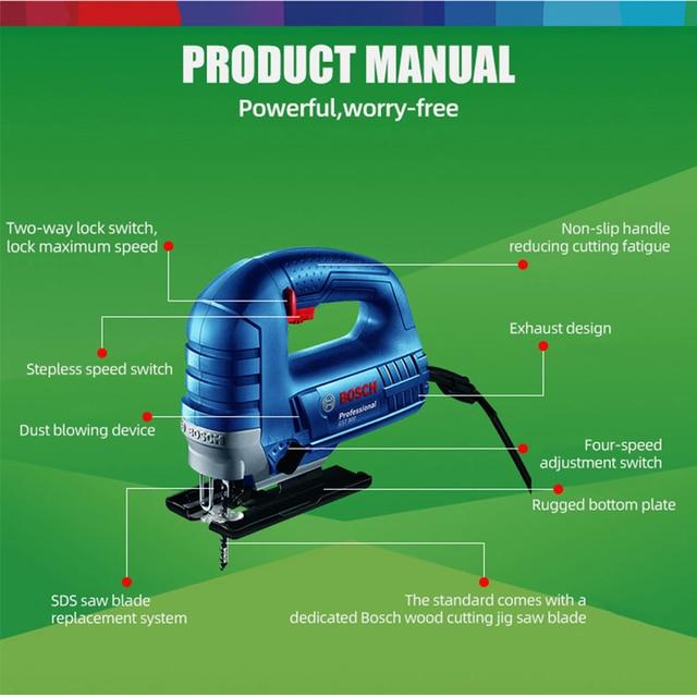 Bosch Jig Saw Electric Saw Blade Multifunctional Jigsaw Electric Saws for Woodworking Power Tool Cutting Metal Aluminum Work Jig 4
