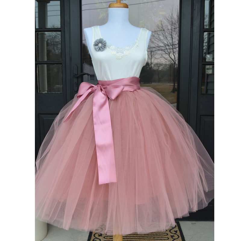 6Layers 65cm Fashion Tulle Skirt Pleated Tutu Skirts Womens Lolita Petticoat Bridesmaids Vintage Midi Skirt Jupe Saias Faldas