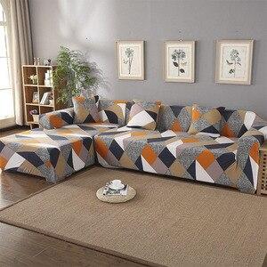 Image 5 - เรขาคณิตโซฟาชุดผ้าฝ้ายที่นอนยืดหยุ่นสำหรับห้องนั่งเล่นสั่งซื้อ 2 ชิ้นถ้าL chaise Longueโซฟา