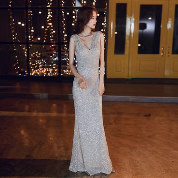 Champagne Sequin Party Dress CR363 Tank Floor-Length Evening Dresses Sleeveless Formal Gowns Mermaid V-Neck Robe De Soiree