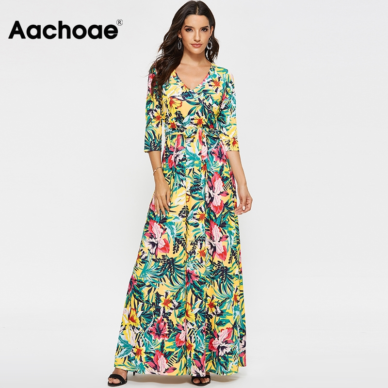 Aachoae 2020 Vintage Floral Print Long Dresses For Women V Neck Boho Elegant Maxi Dress Spring Half Sleeve Casual Bandage Dress
