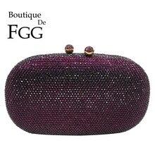 Boutique De FGG Eleganti Donne Del Diamante Viola Da Sera Borse Da Sposa Da Sposa Cena Formale di Cristallo Frizione Borse e Borsette