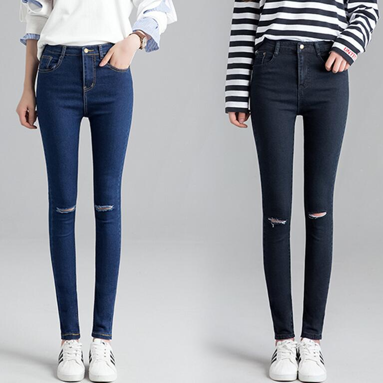 2018 Spring New Style Black And White With Pattern Knee With Holes Jeans Women's Korean-style High-waisted Elasticity Slim Fit S