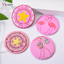 Vicney New Portable Ladies Pocket Round Cute Cartoon Pattern Pink Leopard Five-Pointed Star Magic Flamingo High Quality Mirror(China)