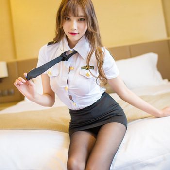 Sexy Police Woman Uniform Stewardess Erotic Lingerie Sexy Skirt for Sex Cosplay Seduction Suit Sex Bdsm Bondage Sex Uniform Hot image