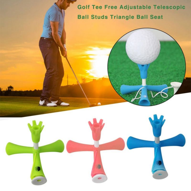 Golf Ball Tees Self Standing Training Ball Holder Tripod Anti-flying Rotatable Standing Nail Adjustable Height Golf Accessories
