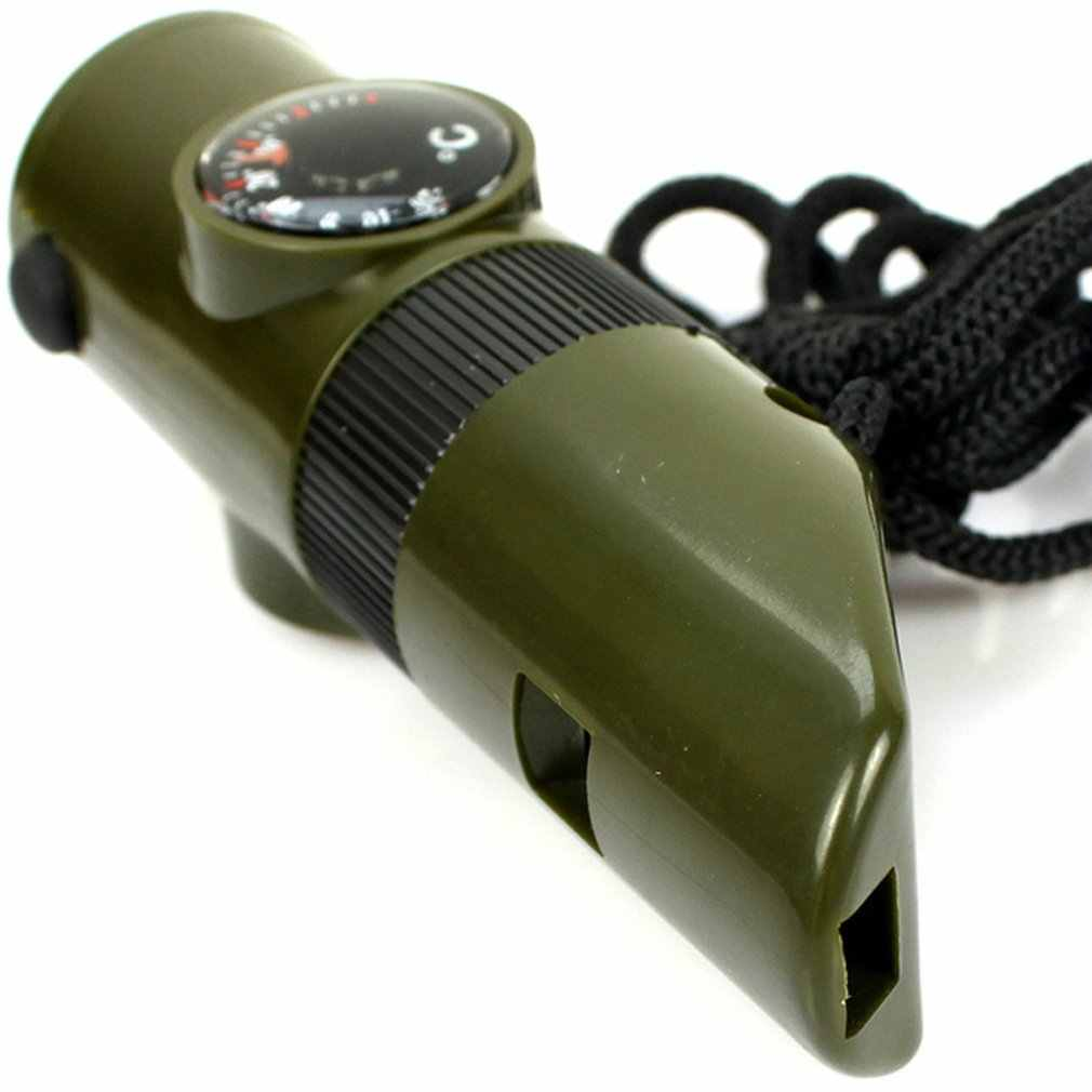 7 in 1 Mini SOS Survival Whistle Kit Camping Survival Whistle With Compass Thermometer Flashlight Magnifier tools Outdoor tool