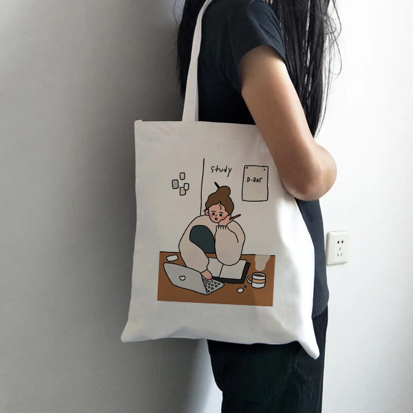 Casual Shoulder Large Capacity Simple Shopping Bag Funny Cartoon Girls Printing Hand Bag Women Simple Canvas Cloth Package Bag