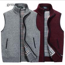 2020 New Mens Winter Wool Sweater Vest Sleeveless Knitted Jacket Warm Fleece Sweatercoat Plus SIze