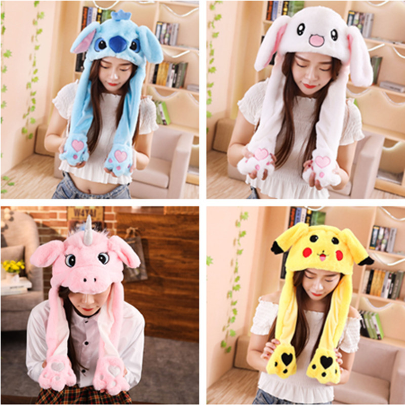Creative Plush Rabbit Stitch Pikachu Hats Cosplay Party Performance Costume Pinching Moving Ears Animals Caps Girls