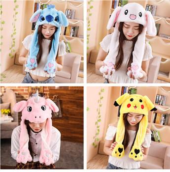 Kreatywny pluszowy królik Stitch Pikachu kapelusze Cosplay występ na imprezie kostium szczypanie ruchome uszy zwierzęta czapki dziewczyny tanie i dobre opinie Nakrycia głowy Kostiumy Rabbit Unisex Dla dorosłych COTTON 56-60cm