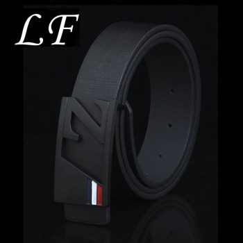 New Fashion Men's Black Bottom Z Letter Buckle Belt Pull Out Large Z Letter Smooth Buckle Belt fashionable crocodile and letter z shape inlay design auto buckle belt for men