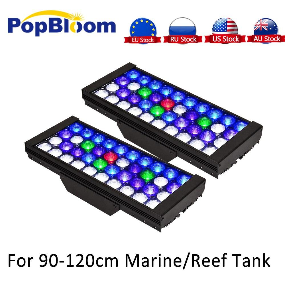 Éclairage de LED pour réservoir de récif 2 pièces contrôleur lampe à spectre complet Aquarium UV LED réglable et Programmable Marine de corail MJ3BP2